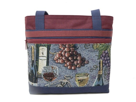 Farrah Handbag - Burgundy Canvas with Wine Themed Tapestry