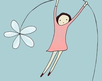 Swinging on a Flower - Girl Print 8x10