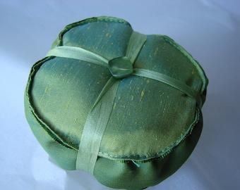 Peridot Green Silk and Ribbon Pincushion