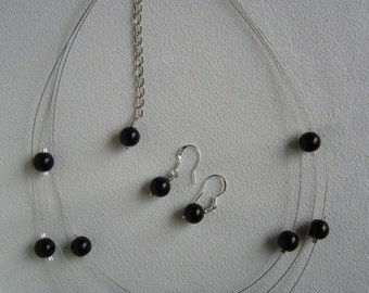 SALE Three Stranded Floating Black Pearl Infinity Necklace and Earrings Set