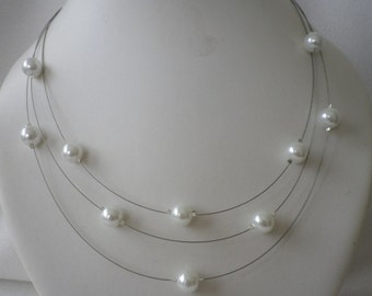 SALE Three Stranded Pure White Floating Pearls  Necklace and Earrings Set