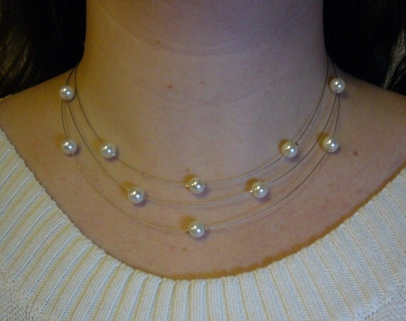 Three Stranded Ivory White Pearl Necklace and Earrings Set