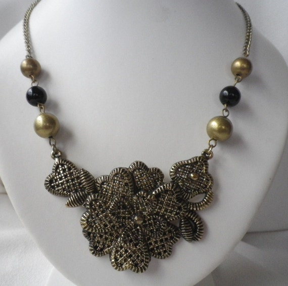 Brass and Black Collar Bib Necklace