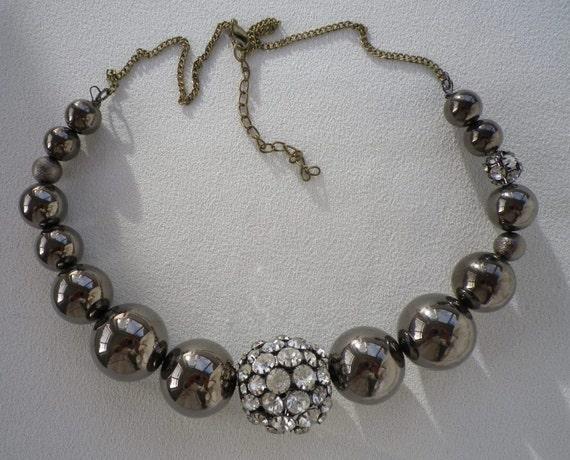 Chunky Rhinestone and Metallic Coffee Beaded Necklace