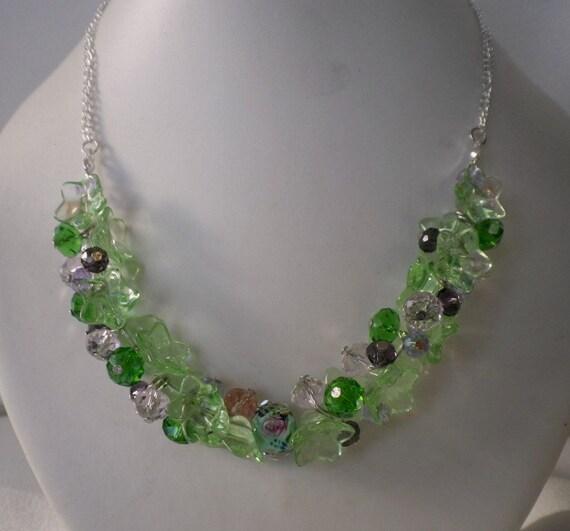 Summer Greens Crystal Cluster Necklace