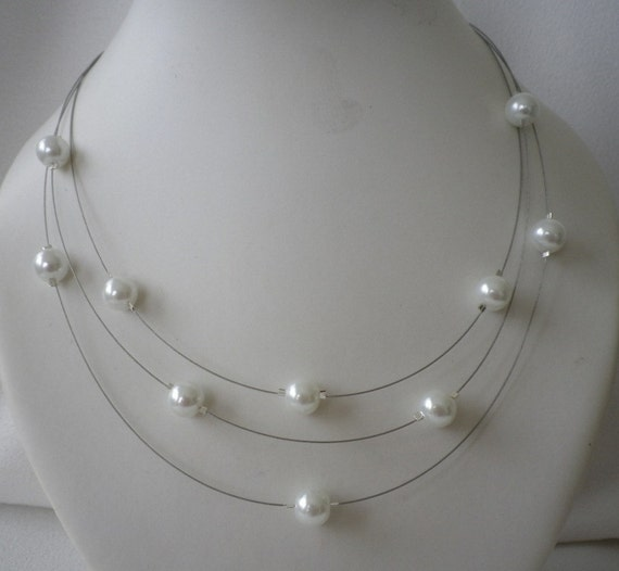 Three Stranded Pure White Floating Pearls  Necklace and Earrings Set