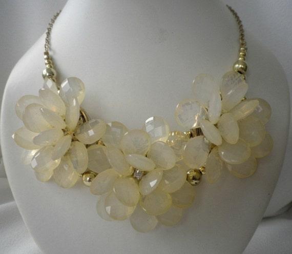Translucent Cream Blush Flowers Collar Bib Necklace