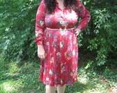 1970s plus size dancing dress / xxl floral print dress