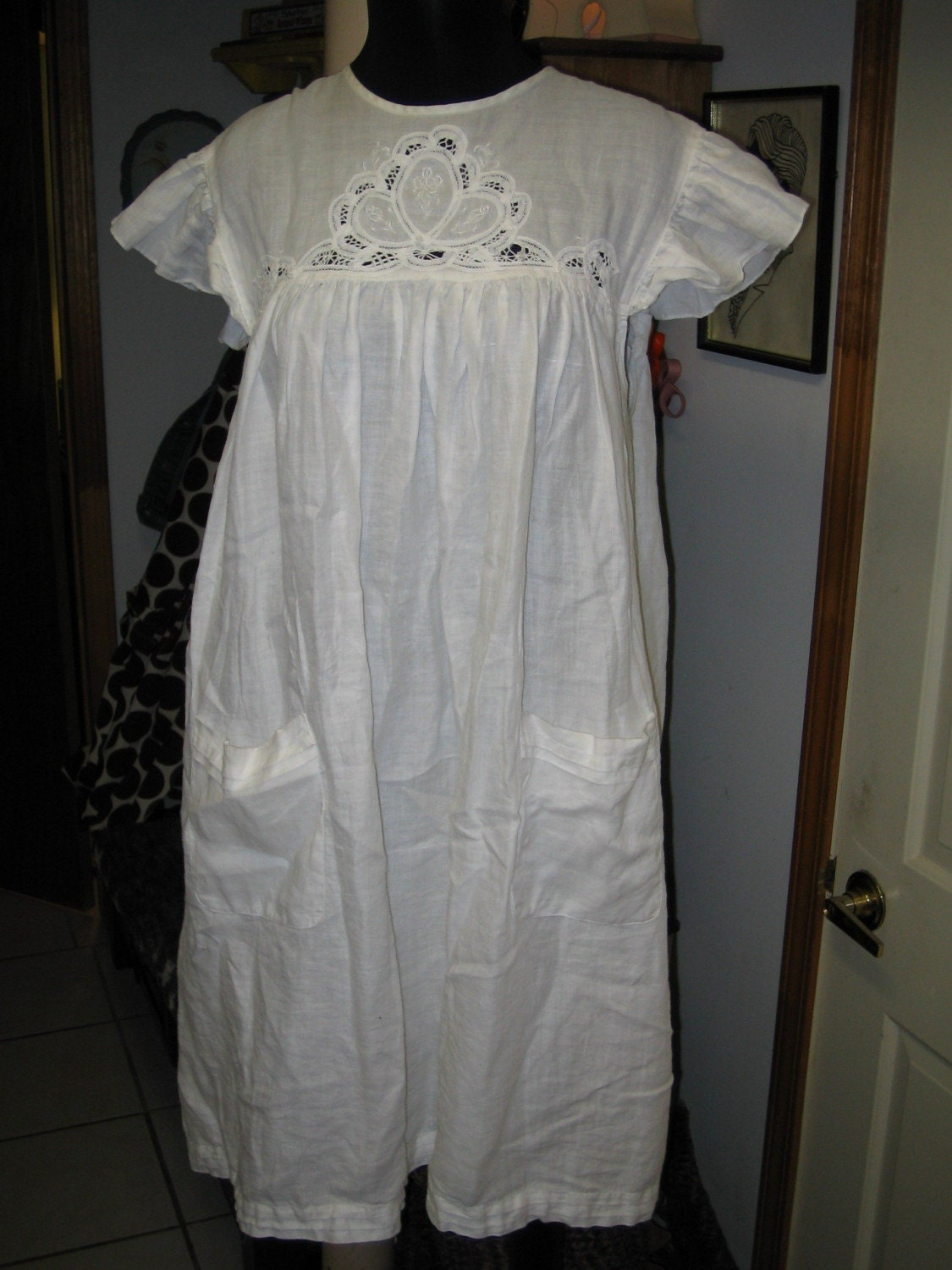 plus size vintage mexican linen baby doll dress