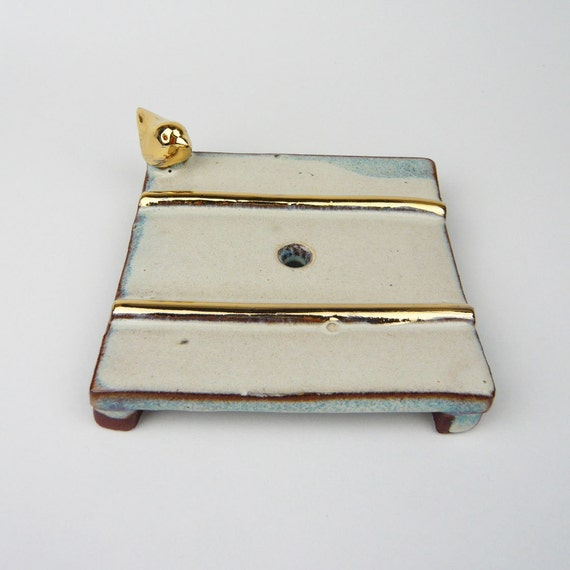 Gold Bird and Lines Soap Dish