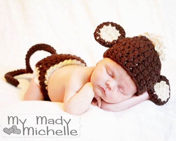 Crochet Monkey Hat with Diaper cover for NEWBORN Halloween Costume photo or photography prop Baby Costume