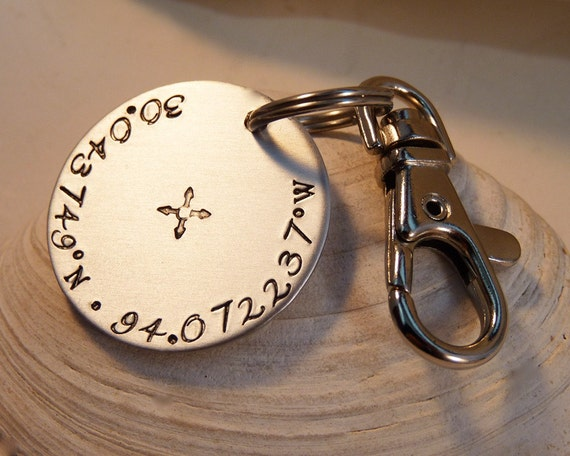 Latitude Longitude Custom Keychain X Marks the Spot