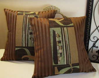 "Pillow Covers ONLY - Set of Two 14""x14"" Covers - Brown and Green Contemporary -  Item PLW-512582"