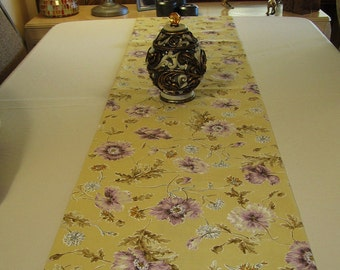 Table Runner -  Pale Yellow with Lavender Flowers - 66-1/2 x 16-1/2 -  Item TR-519271