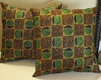 """Pillow Covers ONLY - Set of Two 14""""x14"""" Covers - Brown and Green Geometric Design - Item PLW-528271"""