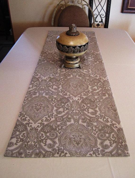 "Table Runner - Decor - Grey Jacquard Pattern - 54""x18"" - Item TR119007"