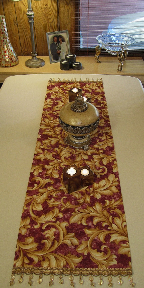 Table Runner Decor Burgundy and Gold with Gold Trim