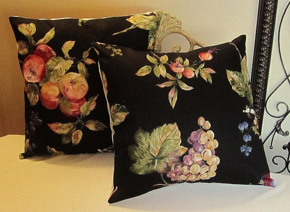 Pillow Cover Set - Black Background with Multi Color Fruit -  Item PLW-526231