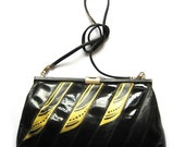 SALE - Hand painted vintage leather clutch and purse - Three Feather Tango