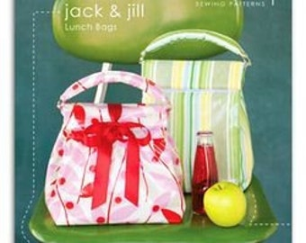 Heather Bailey's Jack and Jill Lunch Bag Sewing Pattern, FREE SHIPPING