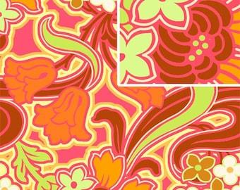 Amy Butler Disco Flower Tangerine Fabric, 1 yard