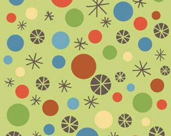 Riley Blake Scoot Dots Green Flannel Fabric, 1 yard