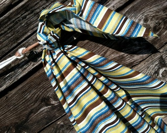 Chocolate Ocean Stripe Blanket Swaddler Light: Receiving Blanket