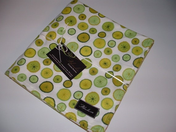 Urban Flannel Scribble Dot Baby Blanket Swaddler Olive--LARGE