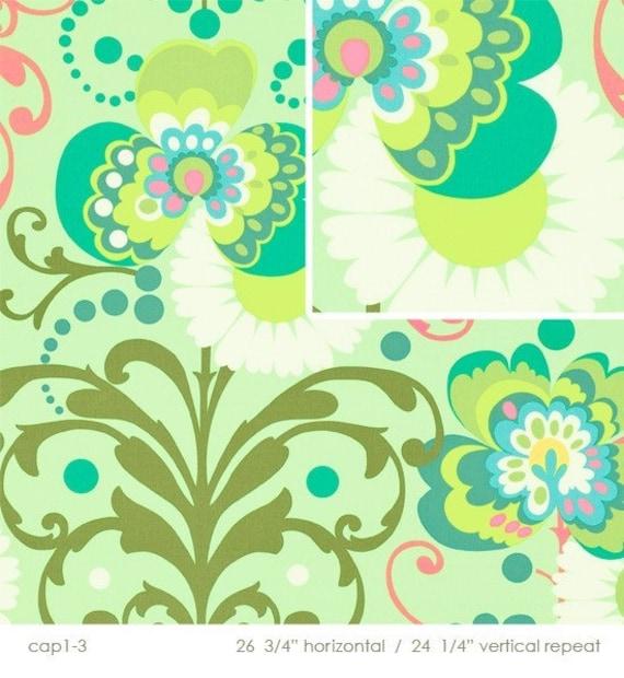 Amy Butler Paradise Garden Mint Laminated Fabric, 2.5 yard
