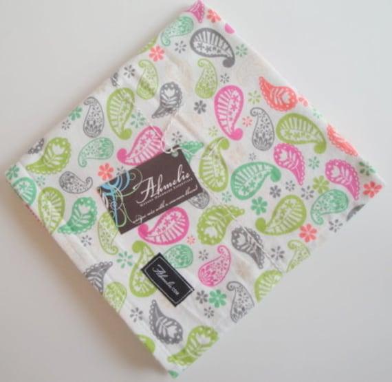 Bright Paisley Baby Blanket Swaddler: Receiving Blanket, Swaddling Blanket, Flannel Blanket