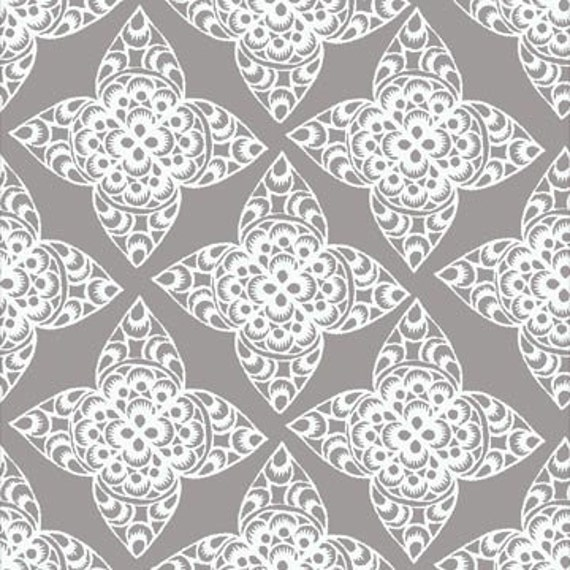 Ty Pennington Lace Gray Fabric, 1 yard
