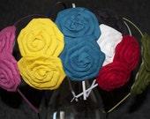 Custom Fabric Flower Headband: Double Blossom You Pick the Colors
