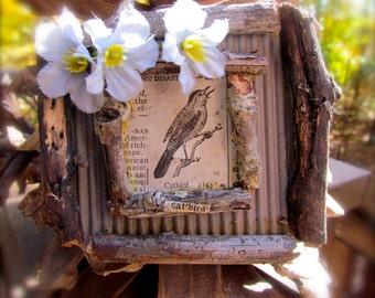 Adorable Rustic Catbird Ornament