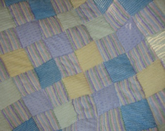 chenille patchwork  crib quilt -CLEARANCE