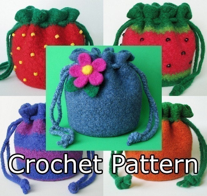 Crochet Felted Tote Bag Pattern : PDF Crochet Pattern Felted Puff Bag