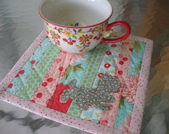 Handmade Quilted Cat Kitty Applique Mug Rug Snack Mat Mini Quilt Bliss Fabric