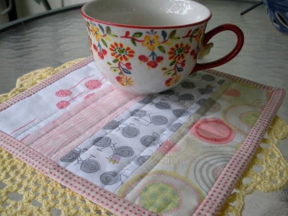 Sweet Scrappy Pink Mug Rug Coaster