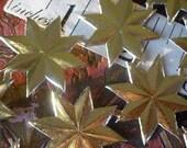 """Special.....40 Gold Foil Dresden Medium Stars  (1"""")"""