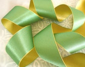 """5 Yards of Green Mist and Daffodil  Reversible Satin Ribbon (1"""")"""