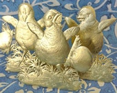 Gold Dresden Chicks (3 just about life-size chicks per set)