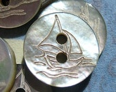 """8 Mother of Pearl  Sailboat Buttons  (1/2"""")"""