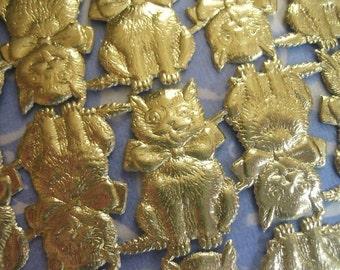 Too Many Kitties Sale... Gold Dresden Cats (48 cats per sheet)