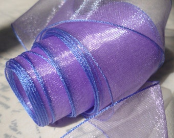 """5 Yards of Lilac Organdy Ribbon Banded in Electric Blue   (1.5 """")"""
