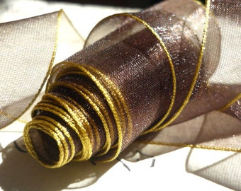 """5 Yards of Chocolate Organdy Ribbon Banded in Antique Gold (1.5"""")"""