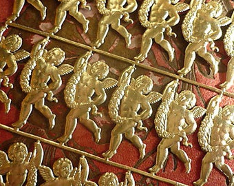 Gold Foil Die Cut Dresden Tiny Cherubs (24 cherubs)