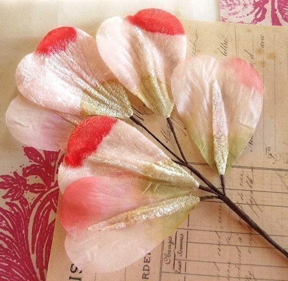 """Vintage Millinery Silk & Velvet Flutters in Rose Pink and Pale Moss Green (8"""")"""