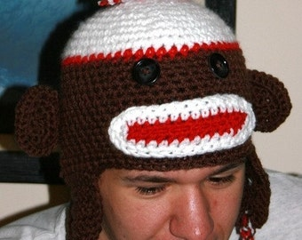 Made to Order  Crocheted Adults Sock Monkey Hats