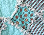 Baby Rag Quilt Aqua and Brown Organic Cotton