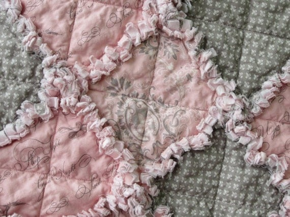 Baby Girl Quilt Rag Quilt Fleur De Lis Pink and Gray