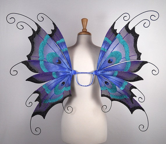 Fairy wings - Peacock - Amazing for fairy costume, Halloween costume, wedding, fairy photography - Blue fairy wings- Handmade - Renee design